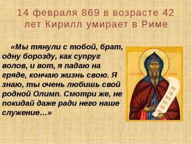 «Мы тянули с тобой, брат, одну борозду, как супруг волов, и вот, я падаю на г...