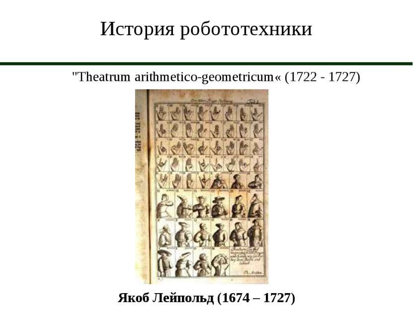 """История робототехники """"Theatrum arithmetico geometricum« (1722 - 1727) Якоб Л..."""