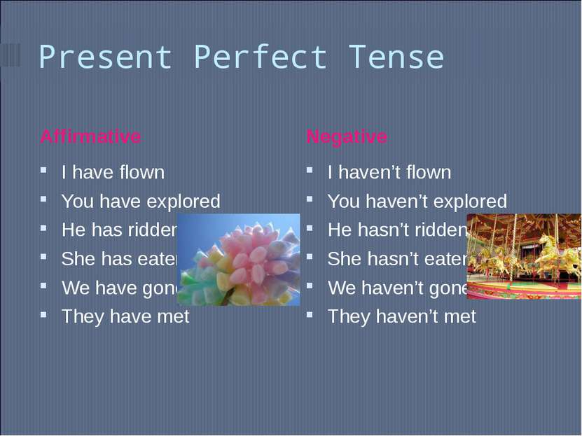 Present Perfect Tense Affirmative Negative I have flown You have explored He ...