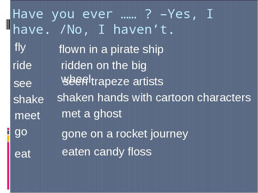 Have you ever …… ? –Yes, I have. /No, I haven't. fly flown in a pirate ship r...