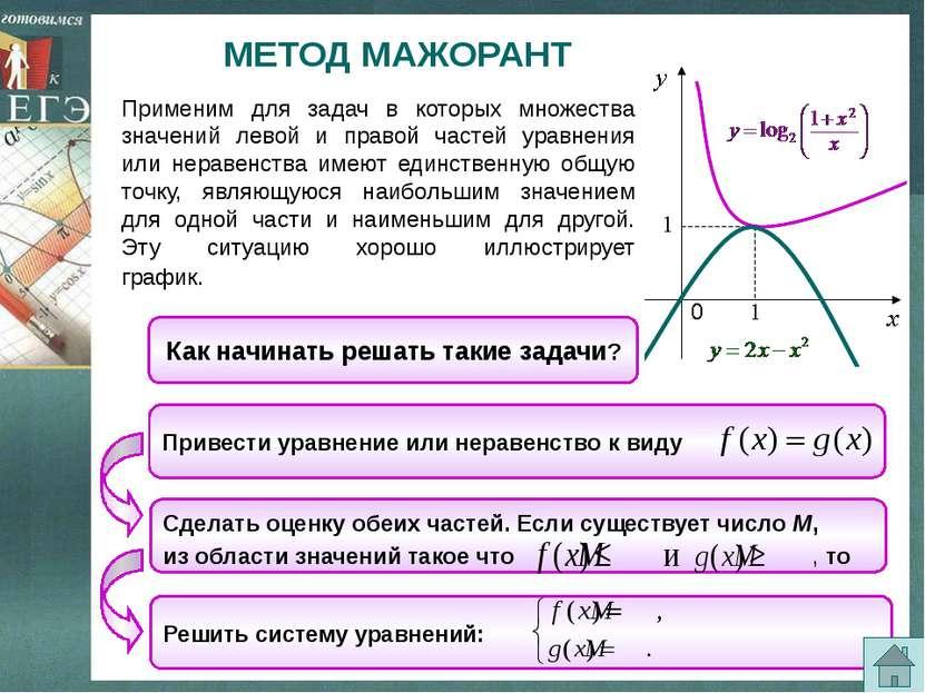 Пример 9. Решить уравнение Решение: Заметим, что х = 1 , является корнем данн...
