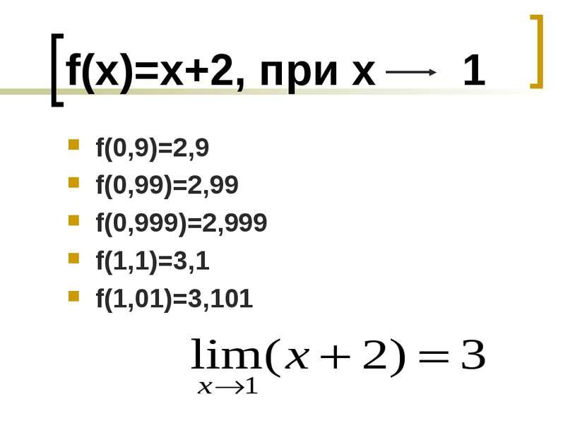 f(x)=x+2, при х 1 f(0,9)=2,9 f(0,99)=2,99 f(0,999)=2,999 f(1,1)=3,1 f(1,01)=3...