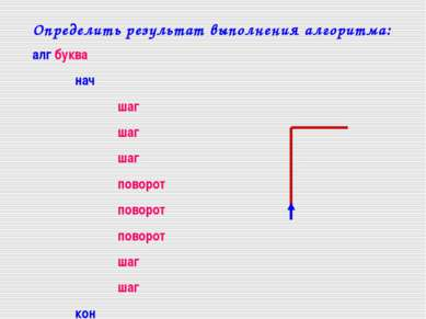Определить результат выполнения алгоритма: алг буква нач шаг шаг шаг поворот ...