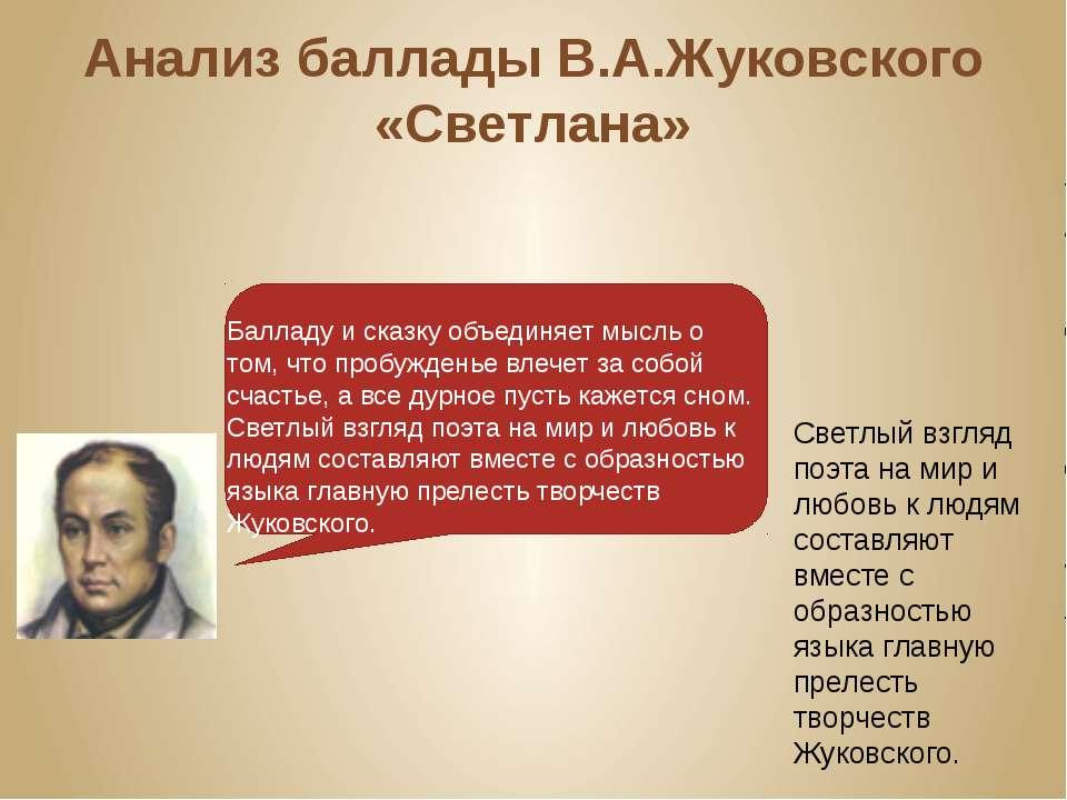 Анализ баллады В.А.Жуковского «Светлана» Светлый взгляд поэта на мир и любовь...