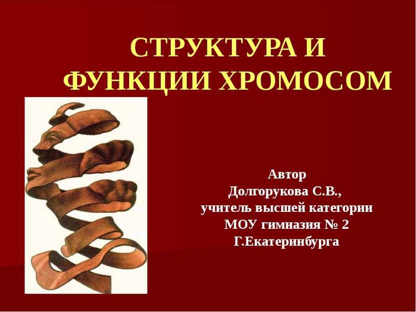 СТРУКТУРА И ФУНКЦИИ ХРОМОСОМ Автор Долгорукова С.В., учитель высшей категории...