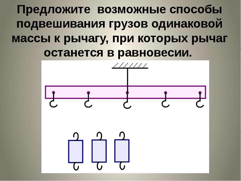 Предложите возможные способы подвешивания грузов одинаковой массы к рычагу, п...