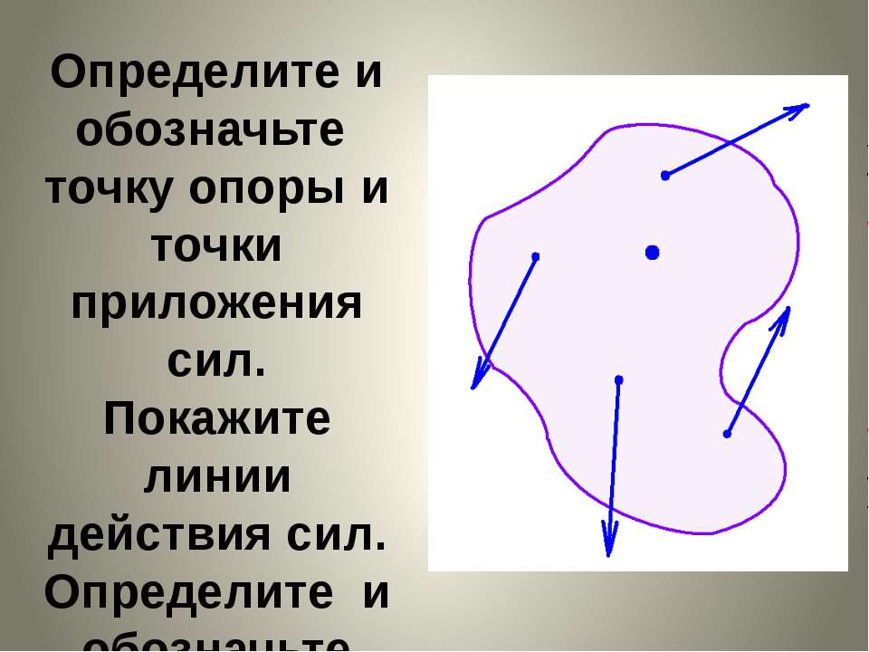 Определите и обозначьте точку опоры и точки приложения сил. Покажите линии де...