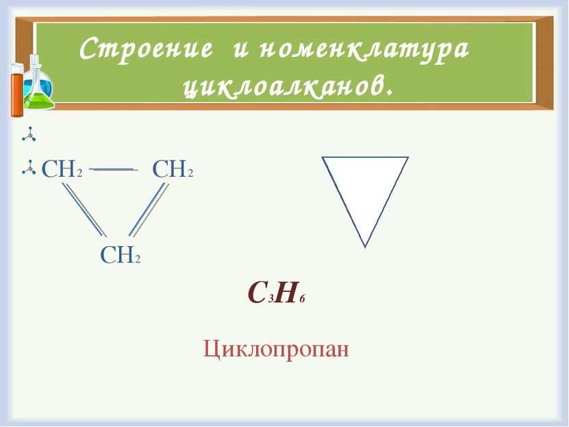 Строение и номенклатура циклоалканов. СН2 СН2 СН2 С3Н6 Циклопропан