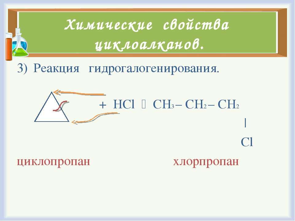 Химические свойства циклоалканов. Реакция гидрогалогенирования. + HCl CH3 – C...