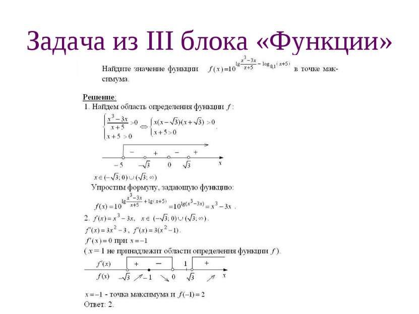 Задача из III блока «Функции»