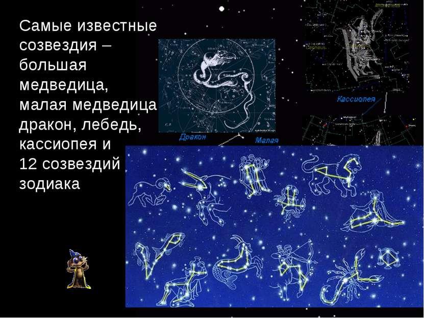 Самые известные созвездия – большая медведица, малая медведица, дракон, лебед...