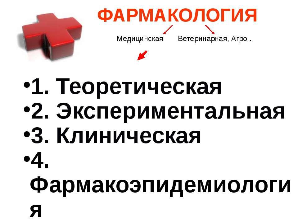 1. Теоретическая 2. Экспериментальная 3. Клиническая 4. Фармакоэпидемиология ...