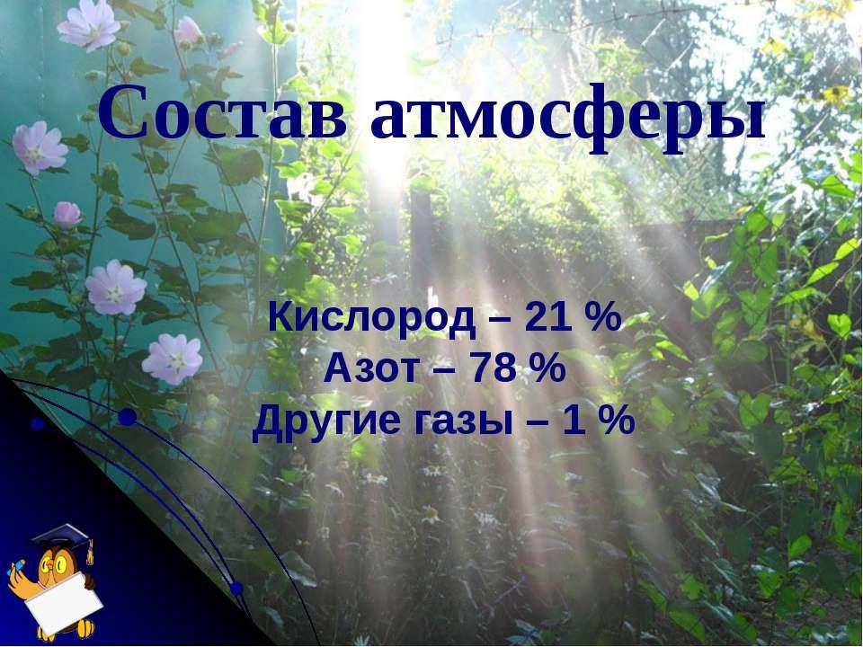 Состав атмосферы Кислород – 21 % Азот – 78 % Другие газы – 1 %