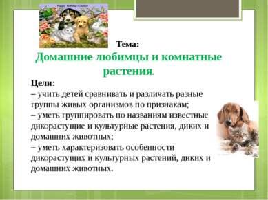 Тема: Домашние любимцы и комнатные растения. Цели: – учить детей сравнивать и...