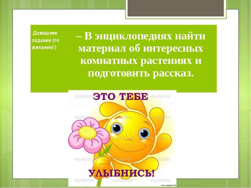 Домашнее задание (пожеланию!)   – В энциклопедиях найти материал об интер...