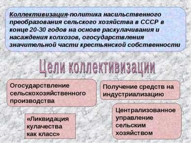 Огосударствление сельскохозяйственного производства «Ликвидация кулачества ка...