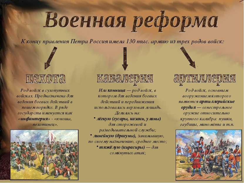 К концу правления Петра Россия имела 130 тыс. армию из трех родов войск: Род...