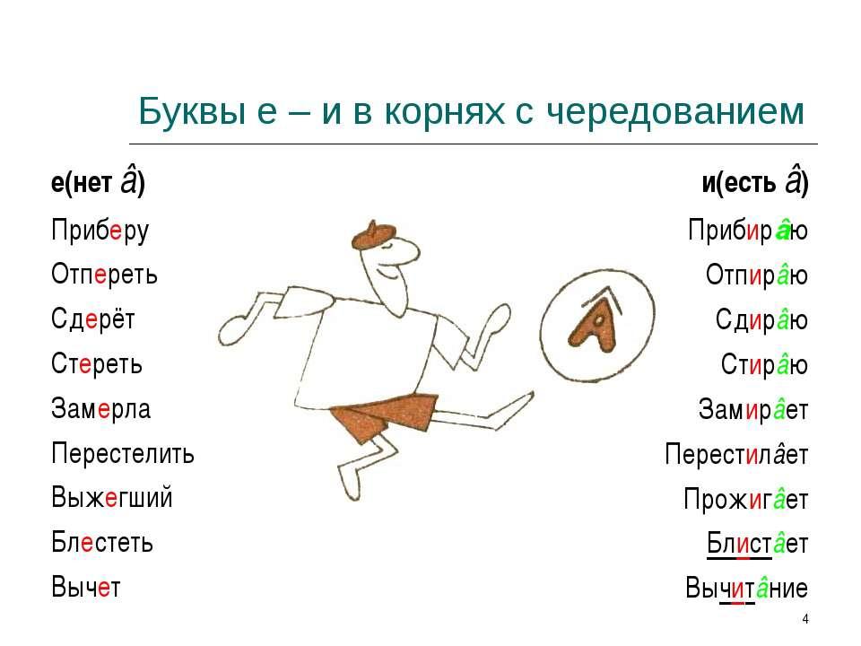 * Буквы е – и в корнях с чередованием е(нет â) Приберу Отпереть Сдерёт Стерет...