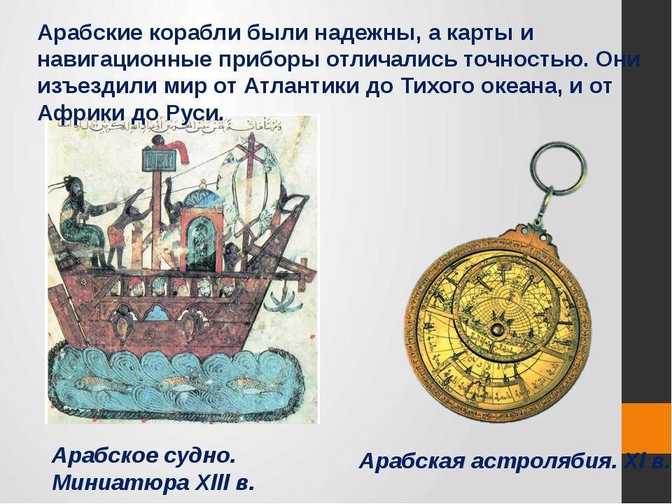 Арабское судно. Миниатюра Хlll в. Арабская астролябия. Хl в. Арабские корабли...