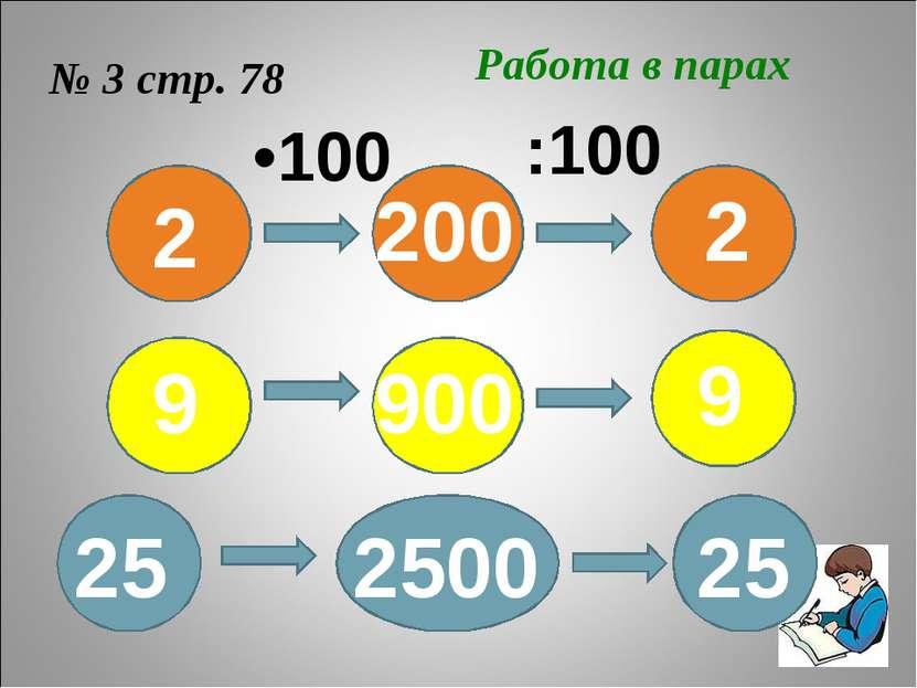 № 3 стр. 78 Работа в парах 2 9 25 2 9 25 200 900 2500 •100 :100