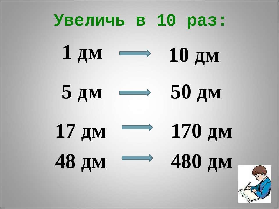 Увеличь в 10 раз: 1 дм 5 дм 17 дм 48 дм 10 дм 50 дм 170 дм 480 дм