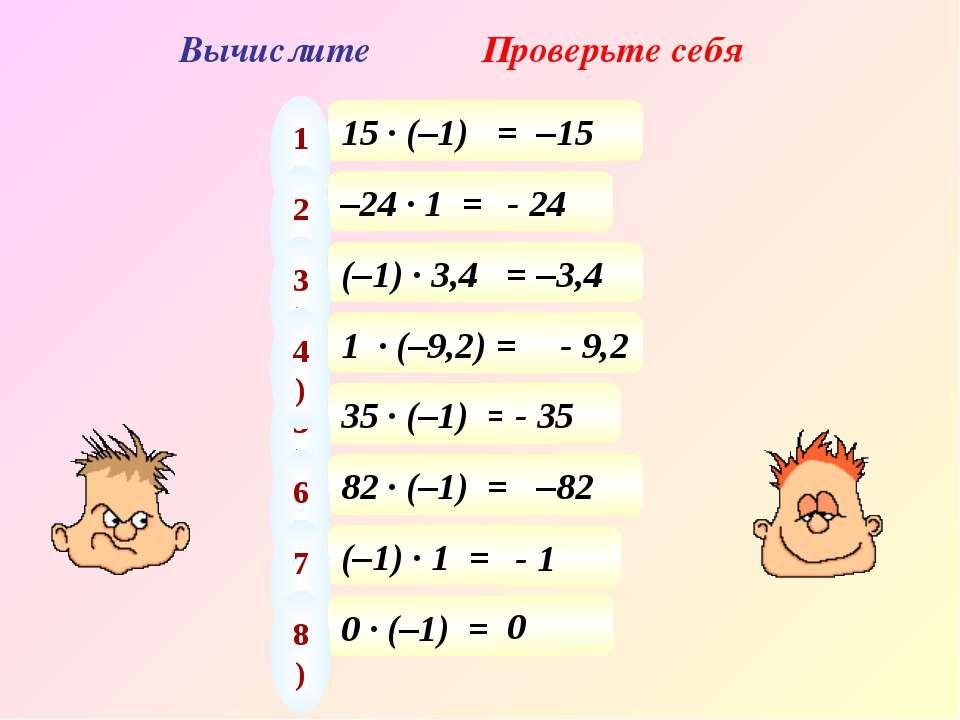 Вычислите Проверьте себя 15 · (–1) = 1) –15 –24 · 1 = 2) - 24 (–1) · 3,4 = 3)...