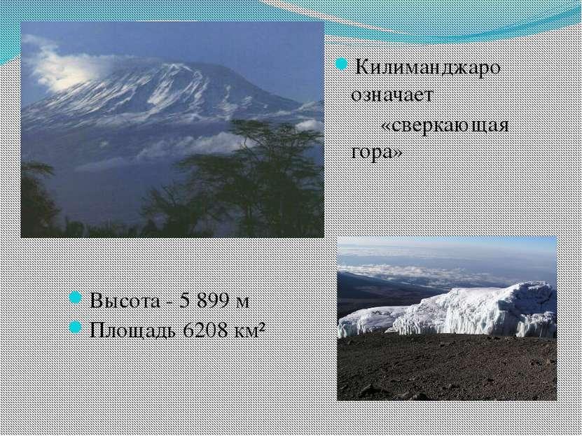 Высота - 5 899 м Площадь 6208 км² Килиманджаро означает «сверкающая гора»