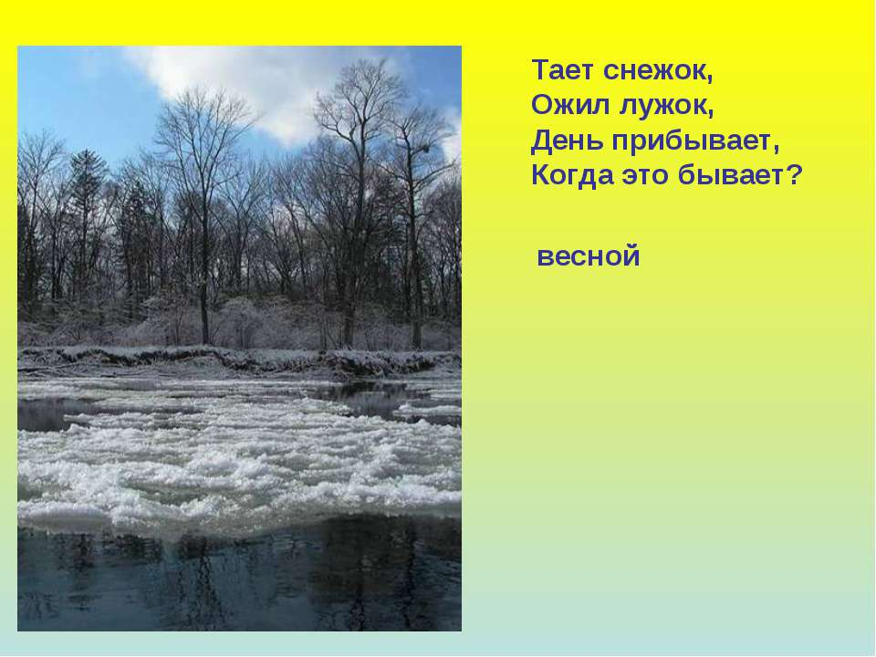 Тает снежок, Ожил лужок, День прибывает, Когда это бывает? весной