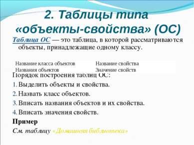 2. Таблицы типа «объекты-свойства» (ОС) Таблица ОС — это таблица, в которой р...
