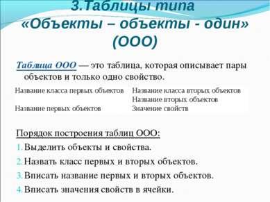 3.Таблицы типа «Объекты – объекты - один» (ООО) Таблица ООО — это таблица, ко...