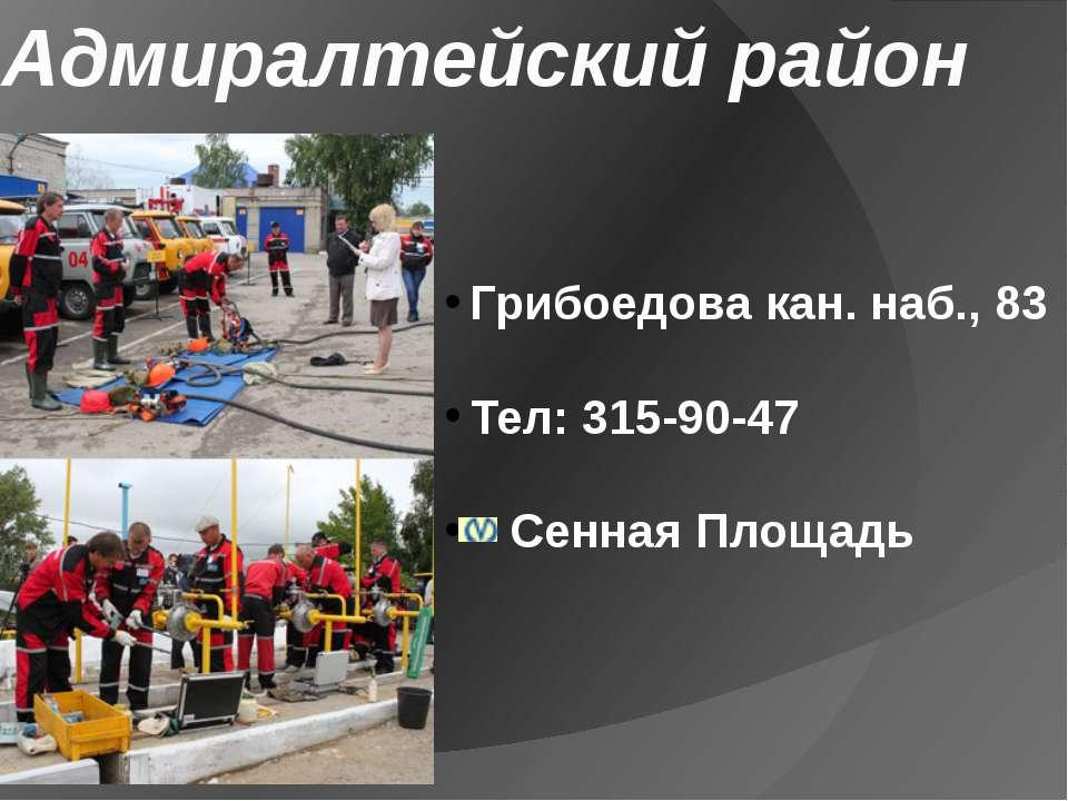 Адмиралтейский район Грибоедова кан. наб., 83 Тел: 315-90-47 Сенная Площадь