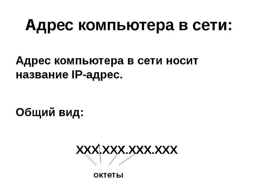 Адрес компьютера в сети носит название IP-адрес. Общий вид: ХХХ.ХХХ.ХХХ.ХХХ А...