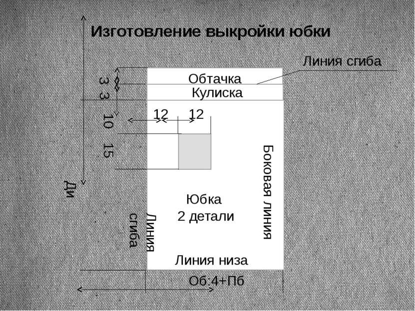 Изготовление выкройки юбки Об:4+Пб Ди 10 15 12 12 Боковая линия Линия сгиба Ю...