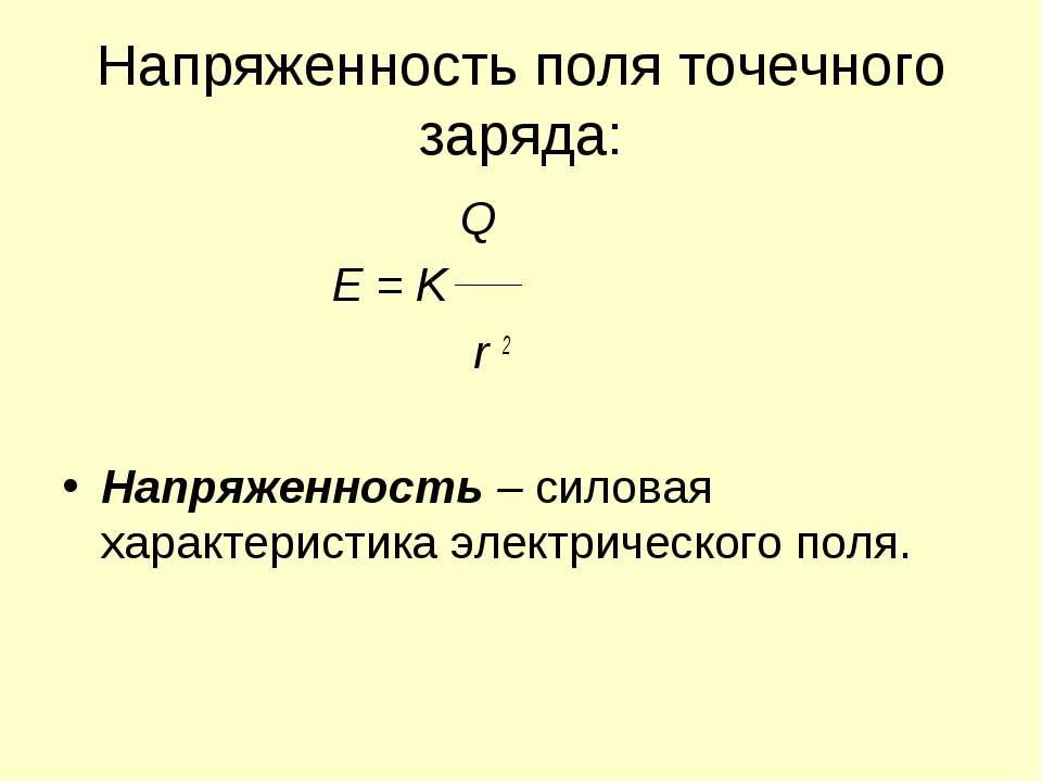 Напряженность поля точечного заряда: Q E = K r 2 Напряженность – силовая хара...