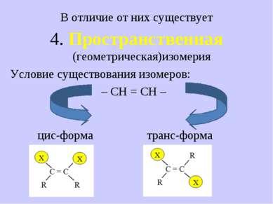 В отличие от них существует 4. Пространственная (геометрическая)изомерия Усло...