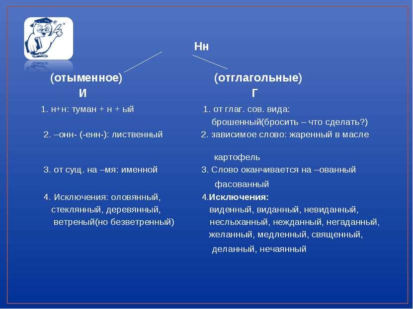 Нн (отыменное) (отглагольные) И Г 1. н+н: туман + н + ый 1. от глаг. сов. вид...