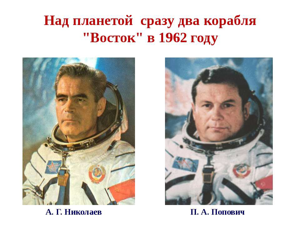 "Над планетой сразу два корабля ""Восток"" в 1962 году А. Г. Николаев П. А. Попович"