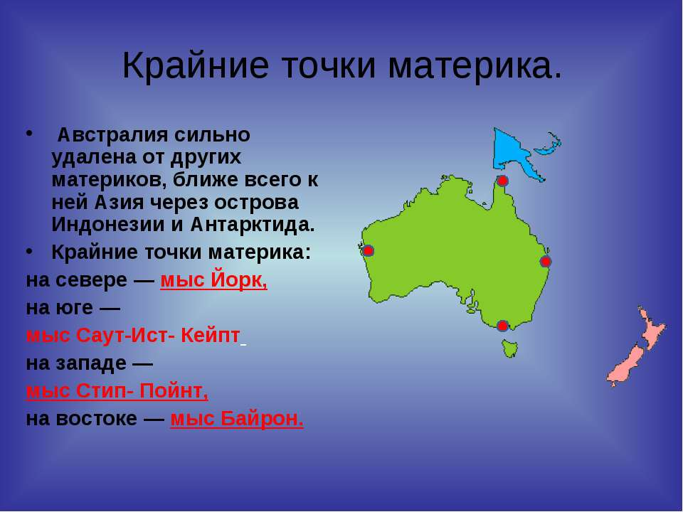 Крайние точки материка. Австралия сильно удалена от других материков, ближе в...