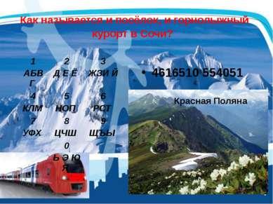 Как называется и посёлок, и горнолыжный курорт в Сочи? 4616510 554051 1 АБВГ ...