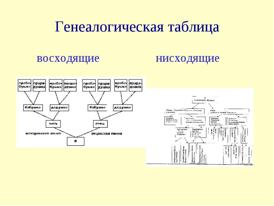 Генеалогическая таблица восходящие нисходящие
