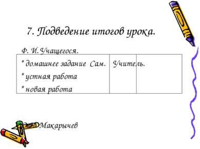 7. Подведение итогов урока. Ф. И. Учащегося. * домашнее задание Сам. Учитель....
