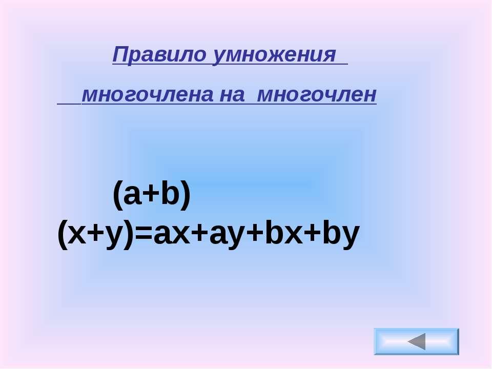 Правило умножения многочлена нa многочлен (a+b)(x+y)=ax+ay+bx+by