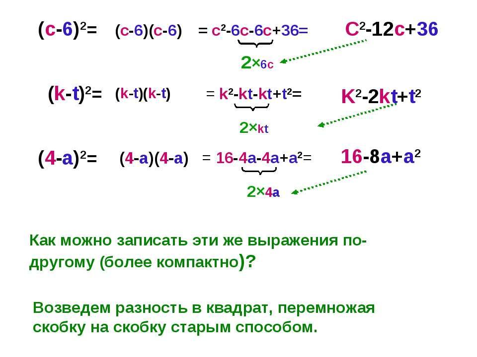(с-6)2= (k-t)2= (4-a)2= Как можно записать эти же выражения по-другому (более...