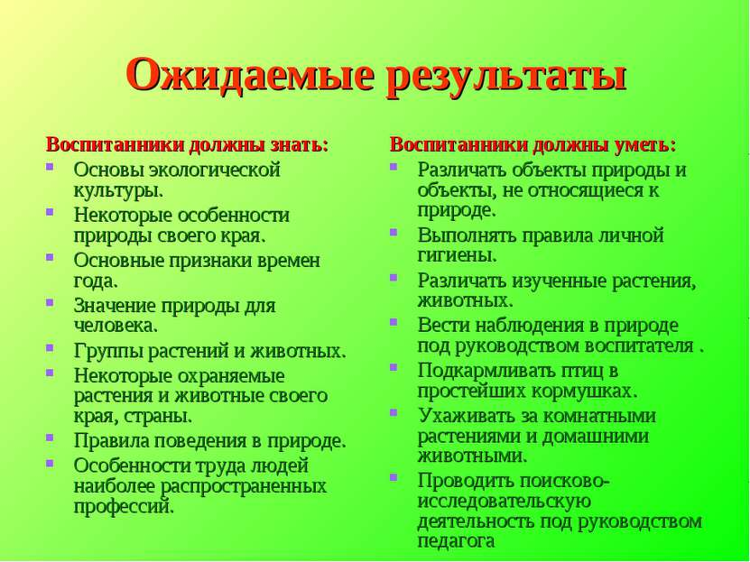 Ожидаемые результаты Воспитанники должны знать: Основы экологической культуры...