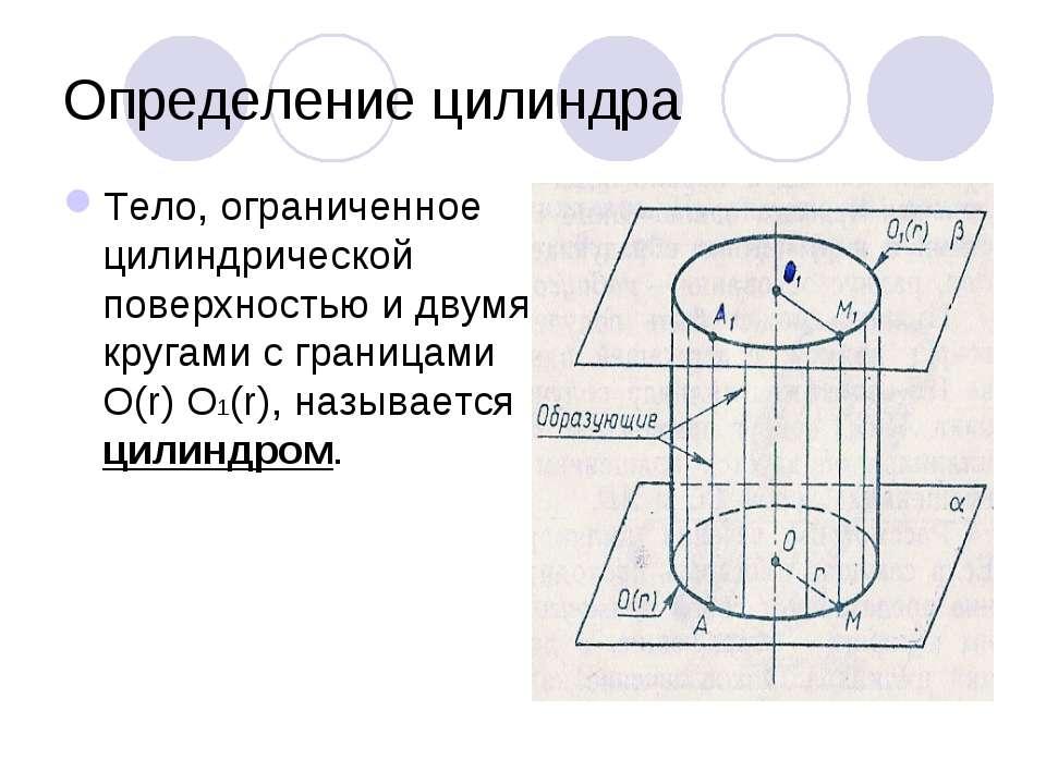 Определение цилиндра Тело, ограниченное цилиндрической поверхностью и двумя к...