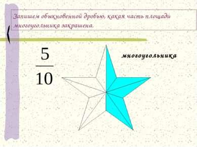 Запишем обыкновенной дробью, какая часть площади многоугольника закрашена. мн...