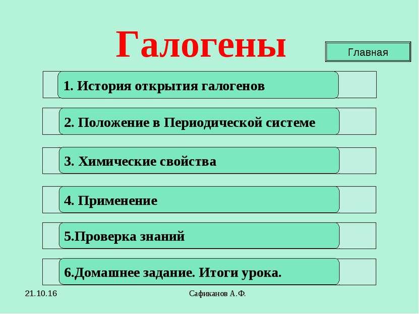 Сафиканов А.Ф. 1. История открытия галогенов 2. Положение в Периодической сис...