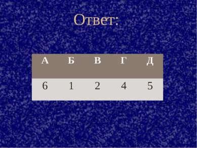 Ответ: А Б В Г Д 6 1 2 4 5