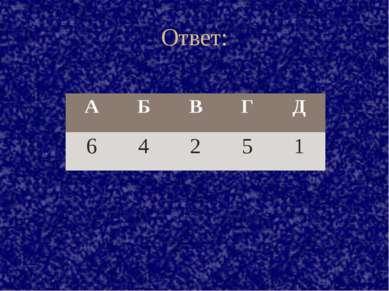 Ответ: А Б В Г Д 6 4 2 5 1