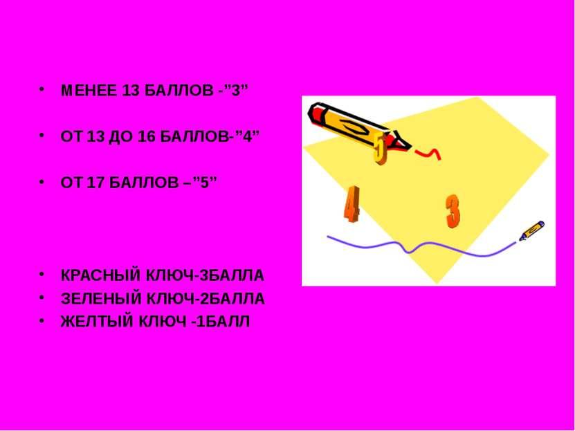 "МЕНЕЕ 13 БАЛЛОВ -""3"" ОТ 13 ДО 16 БАЛЛОВ-""4"" ОТ 17 БАЛЛОВ –""5"" КРАСНЫЙ КЛЮЧ-3Б..."